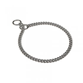 """Behavior Master"" Chrome Plated Short Link Chain Collar with Round Chain - 3.0 mm"