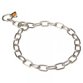 """Training Joy"" Stainless Steel Medium Sized Link Chain Collar - 3.0 mm"