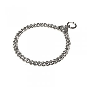"""Great Hugger"" Chrome Plated Short Link Chain Collar with Round Chain - 4.0 mm"