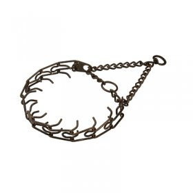"""Antique Treasure"" Browned Steel Pinch Collar with Center-Plate, Assembly Chain and Swivel (4 mm x 25 inches)"