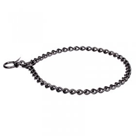Black Stainless Steel Short Link Chain Collar with Round Chain - 3.0 mm