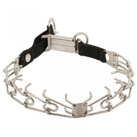 """Taming Loop"" Stainless Steel Dog Pinch Collar with Click-Lock Buckle and Nylon Loop (3.2 mm x 20 inches)"