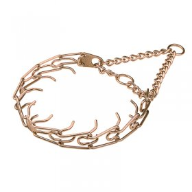 """Aggression Hunter"" Curogan Pinch Collar with Center Plate and Assembly Chain (4 mm x 25 inches)"