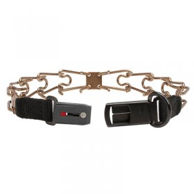 """Shiny Holder"" Curogan Pinch Collar with Center-Plate and Click-Lock Buckle - (3.2 mm x 20 1/2 inches)"