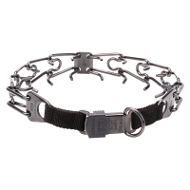 Black Stainless Steel Pinch Collar with Center-Plate and Click-Lock Buckle (4 mm x 23 ⅗ inches)