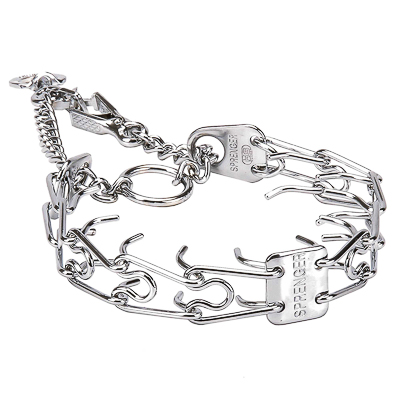 """Manners Fighter"" Chrome Plated Prong Collar with Swivel and Quick Release Snap Hook (4 mm x 25 inches)"