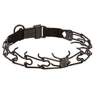 Black Stainless Steel Dog Pinch Collar with Click Lock Buckle