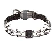 Dog Pinch Collar for Behavior Control with Click Lock Buckle - 1/11 inch (2.25 mm) link diameter