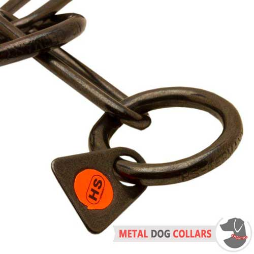 Easy in use choke chain dog collar with O-ring