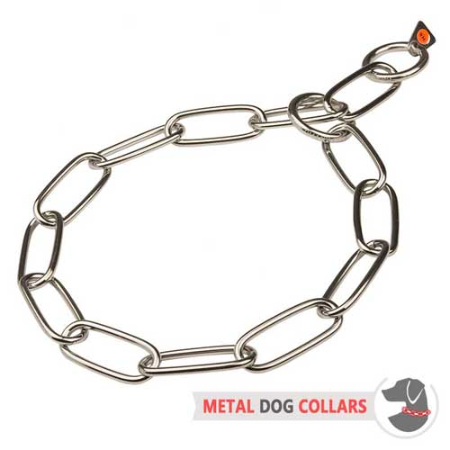 Fur saver choke chain dog collar rust-proof