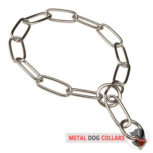 Fur saver choke chain dog collar