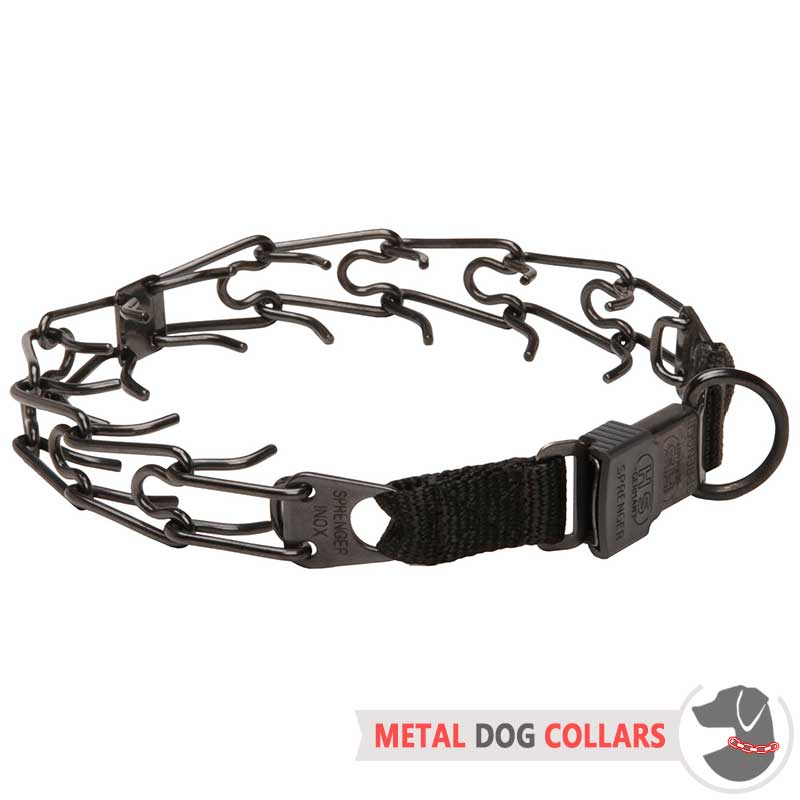 Black Stainless Steel Dog Pinch Collar with Click Lock ...