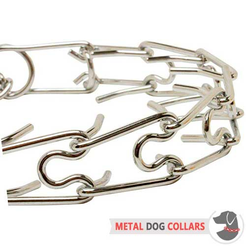 Durable pinch dog collar steel chrome plated