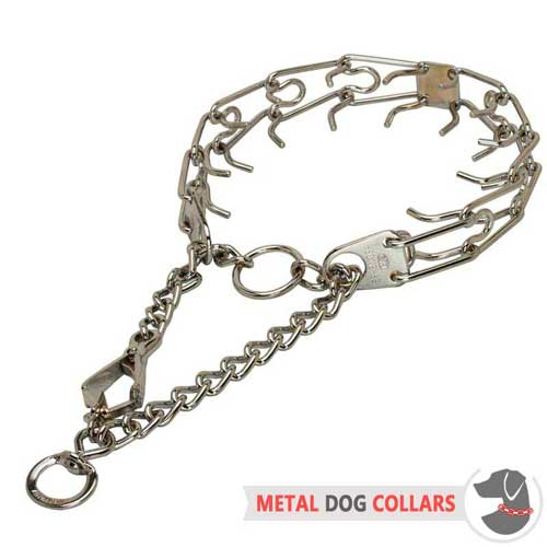 Pinch dog collar chrome plated with smooth links