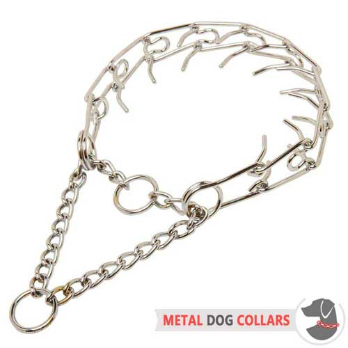 Non-rusting chrome plated pinch dog collar