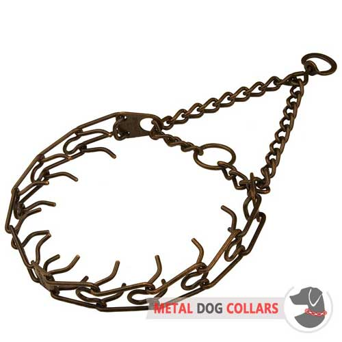 Pinch dog collar made of sttel and antique cppper