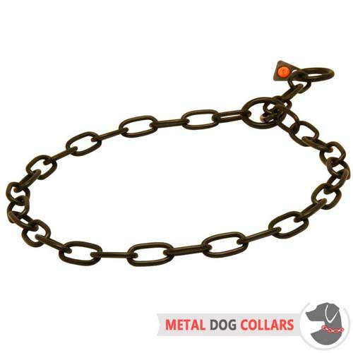 Black Stainless Steel Chain Choke Dog Collar Fur Saver