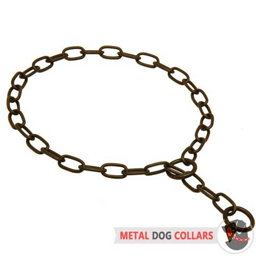 Black Stainless Steel Chain Choke Dog Collar with Red Label