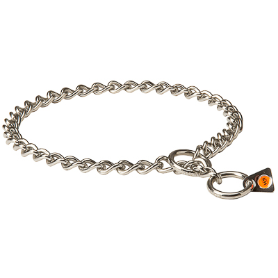 Stainless Steel Short Link Chain Collar with Round Chain - 1/9 inches (3.0 mm)