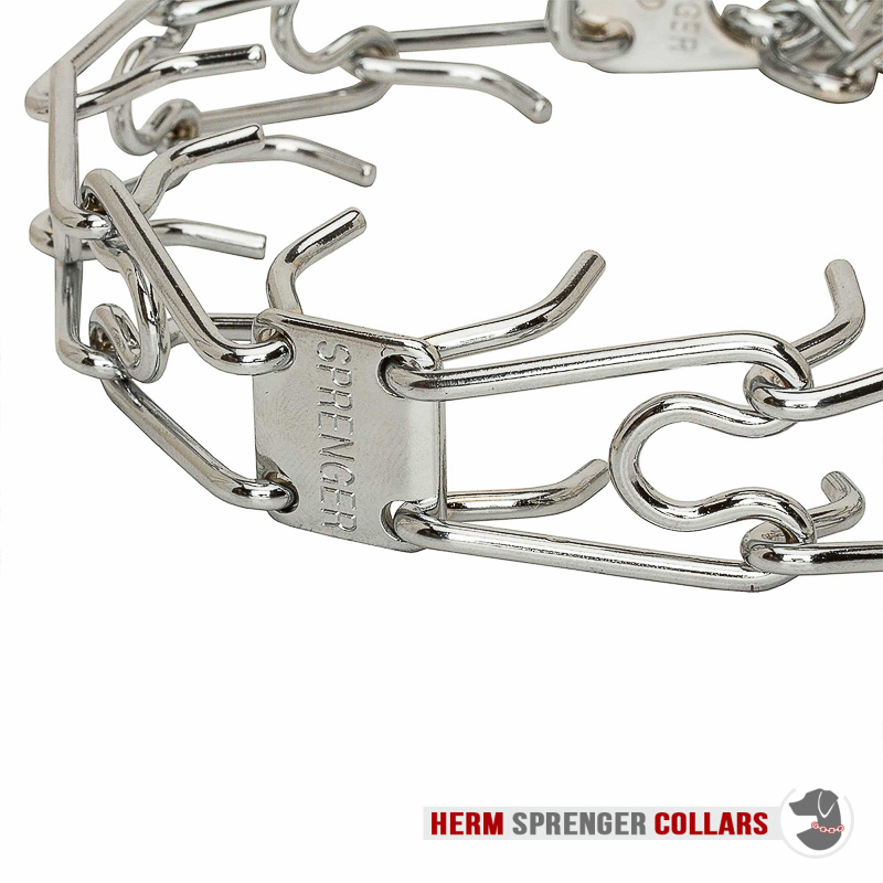 """Dodge the Drag"" Chrome Plated Prong Collar with Swivel and Quick Release Snap Hook (3.2 mm x 23 inches)"