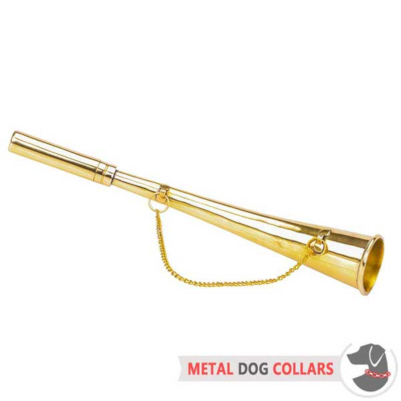 """The Mighty Blow"" Brass Dog Training Horn - 10 inches (25 cm)"